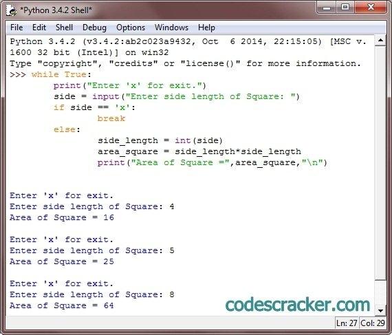 Python Program To Calculate Area Of Square