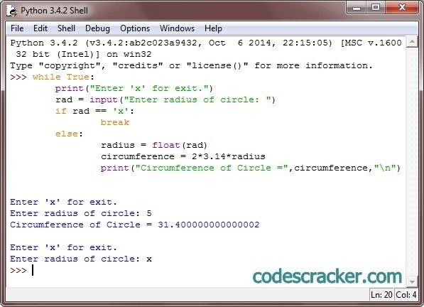 python program to calculate circumference of circle
