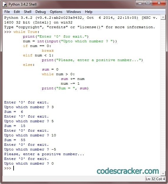 python find sum of natural numbers
