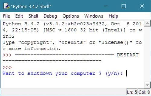 Python Program to Shutdown and Restart Computer